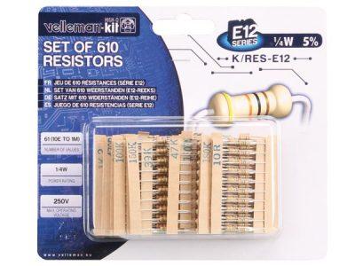 Set van 610 weerstanden E-12reeks K/RES-E12