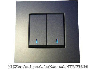 Velbus Drukknop interface 1&2 kanaal voor Niko Blauwe LED VMB2PBN