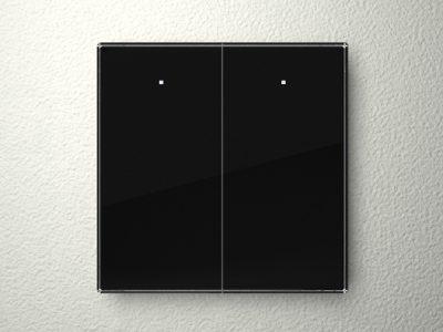 Velbus 2 knop glazen aanraakpaneel (ZWART) VMBGP2B