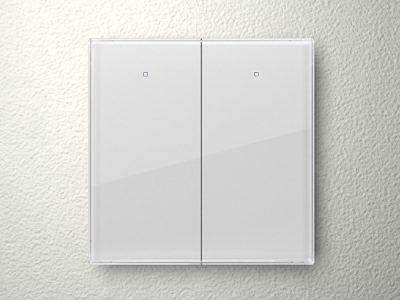 Velbus 2 knop glazen aanraakpaneel (WIT) VMBGP2W