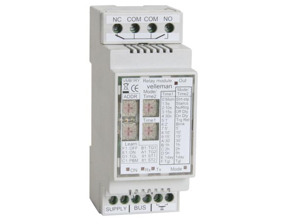 Velbus 1 kanaal relaismodule VMB1RY