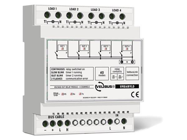 Velbus 4kanaals relais module met 4x 220Volt doorvoer VMB4RYLD
