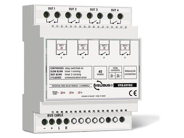 Velbus 4kanaals relais module met 4x droge contacten VMB4RYNO
