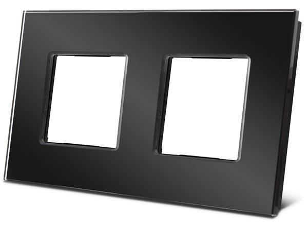 Velbus dubbelvoudige glazen kader voor Bticino® Livinglight (ZWART) VMBGP2SB