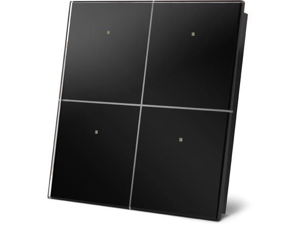 Velbus 4 knop glazen aanraakpaneel (ZWART) VMBGP4B